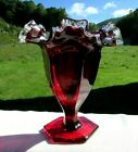 Fenton Ruby Silver Crest Crimped Ruffled Vase 6H for Jay Wilfred Company 40s