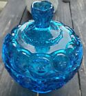 Rare Blue Bubble Glass Candy Dish Mint With Lid EL Smith Moon and stars