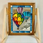 Vintage 90s Hot Air Balloons Stained Glass Framed 13 x 16 by Open Windows CO