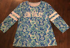Lilly Pulitzer Shirt Ladies L Ollie Vacay in Sea Glass Aqua Seeing Double NEW