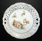 """ANTIQUE LILY FLOWERS GOLD RETICULATED 10"""" PORCELAIN CAKE PLATE PRETTY!"""