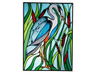 10x14 BLUE HERON Bird Stained Art Glass Suncatcher Panel