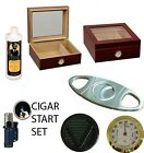 50 ct CIGARS HUMIDOR GLASS TOP GIFT SET LIGHTER CUTTER Cedar lined Cherry finish