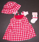 NWT Gymboree Summer Picnic 3 6 Months Watermelon Red Gingham Dress Hat