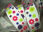 WHITE SATIN RIBBON WITH HOT PINK, BLUE, PURPLE, GREEN FLOWER PRINT 1.5 '' WIDE