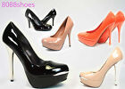 Womens High Heels Dress Bridal Round Toe Patent Platform Stiletto Pumps Shoes