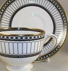 Wedgwood COLONNADE BLACK Cup & Saucer + Bread Plate Bone China R4340 A+ COND