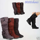 Womens Comfort Round Toe Slouchy Buckle Knee High Wedge Boots Shoes Size 5 10