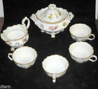 Old Paris Porcelain Covered Sugar Bowl,Creamer w/4 cups by Jacob Petit ca.1850