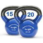 Yes4All Kettlebell Solid Cast Iron Vinyl Coated 15 20 lbs Set