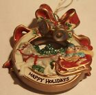 Fitz & Floyd Happy Holidays Christmas Holiday Happenings Ornament NEW w/Box