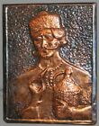 VINTAGE  WALL HANGING DECOR COPPER PLAQUE MALE WITH DEMIJOHN