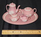 WEDGWOOD MINI / MINIATURE PINK JASPERWARE 8 PIECE COFFEE & TEA SET NEW