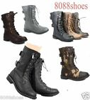 Womens Cute Mid Calf Zipper Low Heel Combat Military Lace Up Shoes Size 5 11