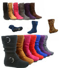 Girls Kids Cute Zipper Flat Heel Mid Calf Slouchy Boot Shoes 9 4 6 Colors