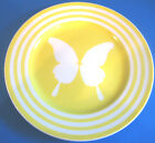 DINNER PLATE Papillion Yellow Butterfly Bands Vtg 1980s by  Fitz