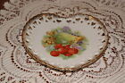 VINTAGE....NAPCO.....HAND PAINTED / FRUIT...HEART SHAPED...LACED EDGE PLATE