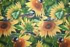 BIG YELLOW SUNFLOWER FABRIC GARDEN OF FLOWERS WITH BIRDS IN THE SUNFLOWERS