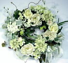 Hydrangea Peony Rose door Wreath green ivory Summer Spring Cottage Victorian
