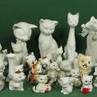 f299a: COLLECTION OF 30 white CERAMIC PUSSY CATS in DIFFERENT SIZES