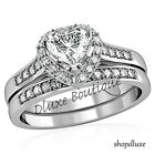 175 Ct Heart Shape CZ Wedding  Engagement Ring Set Womens Size 5678910