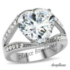 625 Ct Heart Shape AAA CZ Stainless Steel Engagement Ring Womens Size 5 10