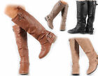 NEW Womens Zipper Military Low Flat Heel Buckle Riding Knee High Boot Shoes