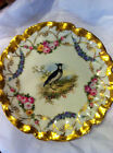 ANTIQUE LIMOGES GAME PLATE RARE HAND PAINTED GOLD BLUES SIGNED QUAIL BIRD 10