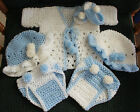 Hand Crochet Baby Outfit Blue 6 Pc Sweater 2 Diaper cover 2 Bonnet Sandals