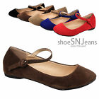 Women Mary Janes Flats Slip On Ballerina Shoes Strap Round Toe Sandals Colors