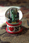 I LOVE NEW YORK SNOW WATER GLOBE STATUE OF LIBERTY CITY SKY LINE WHITE RED BASE