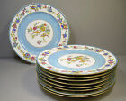 9 Antique Charles Ahrenfeldt French Dinner Plates Blue with Birds Limoges France