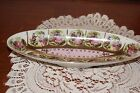 VINTAGE...VERY PRETTY...PINK & GREEN, GOLD TONE..COLONIAL PATTERN....OBLONG DISH