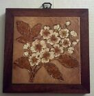 BEAUTIFUL Ceramic flower TILE wall ART/TRIVET! Wood STAND! MADE IN ITALY!