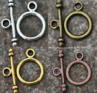 New 30 Sets Round Toggle Clasp GoldSilverBronzeCopper Tone