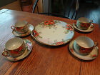 Vintage 9-PC Bavaria Set of 4 Cups Saucers & Cake Plate-HP ORANGE POPPIES-Signed