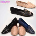 Womens Causal Slip On Studded Round Toe Loafer Flat Sandal Shoes NEW 55 11