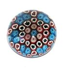PAPERWEIGHT Large Ball Glass Unsigned Traditional RED WHITE BLUE MILLEFIORE