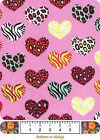 FABRIC BTY Snuggle Flannel 100 Cotton Animal Print Hearts on Pink