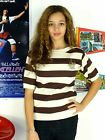 WOMENS VINTAGE 80'S BROWN STRIPED NAUTICAL BOAT SHORT SLEEVE KNIT JUMPER 8 10