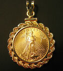 1/10 OZ AMERICAN EAGLE GOLD COIN PENDANT + SOLID 14K BEZEL Made in the USA