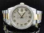 Mens Excellent 2 Tone Rolex Datejust Oyster Diamond Watch 18k/Steel Band 3 Ct