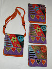 HOBO Hip Bag PURSE Adjust Strap PEACE SIGN Flowers MultiColor PATCHWORK