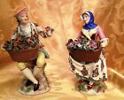 Pair of Antique Handpainted French Porcelain Figurines ~ Delicate Floral Baskets
