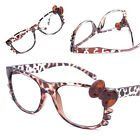 Retro Classic glass Frame Brown Leopard Bow Cute Cosplay Costume No Lens Eyewear