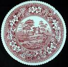 Spode TOWER PINK VINTAGE BACKSTAMP Chop Plate Gadroon Shape Small Chip AS IS