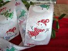 WHITE 2.5 INCH SNOWMAN WITH SILVER TRIM AND SNOWFLAKES CHRISTMAS RIBBON - 50 YD