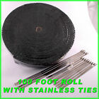 BLACK THICK EXHAUST WRAP HEADER PIPE TAPE KIT 1 8 X 2 X 100 FT  LOCKING TIES