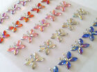 CraftbuddyUS 25 x 15mm Mixed AB Diamante Butterfly Gems Self Adhesive Rhinestone