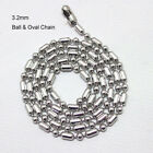 32mm Silver Stainless Steel Ball Oval Bead Chain Men Dog Tags 18 36 necklace